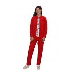 Jacheta medicala polar rosie cu doua buzunare aplicate