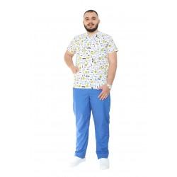 Costum medical Smile, cu bluza cu imprimeu si pantaloni bleo cu elastic