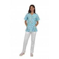 Costum medical Catelusi, cu bluza cu imprimeu si pantaloni albi cu elastic