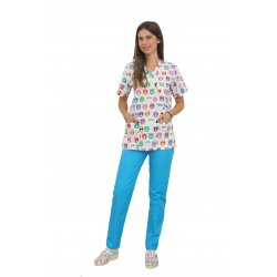 Costum medical Kitty, bluza cu imprimeu si pantaloni turcoaz cu elastic