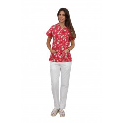 Costum medical Red Teddy, cu bluza cu imprimeu si pantaloni albi cu elastic