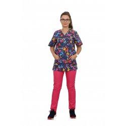 Costum medical Butterfly, cu bluza cu imprimeu  si pantaloni ciclam cu elastic