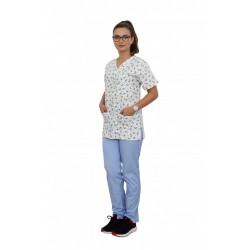 Costum medical Dogs, bluza cu imprimeu si pantaloni bleo cu elastic