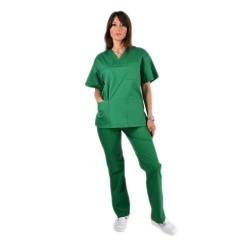 Costum medical verde, bluza cu anchior in V, trei buzunare si pantaloni cu elastic