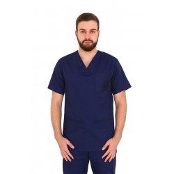 Bluza de lucru bleomarin unisex cu anchior in V si trei buzunare aplicate