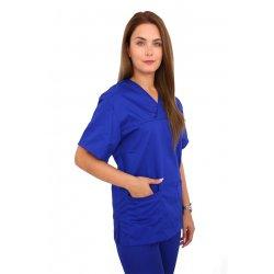 Halat medical albastru cu anchior in forma V si trei buzunare aplicate