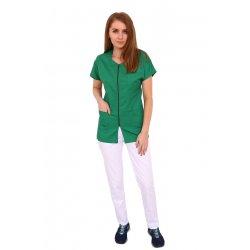 Costum medical verde cu alb, bluza verde cu fermoar, trei buzunare si pantaloni cu elastic