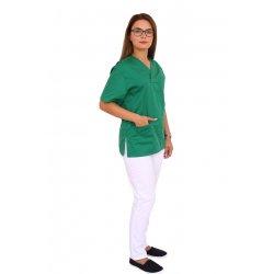 Costum medical verde cu alb, bluza cu anchior in V, trei buzunare si pantaloni cu elastic