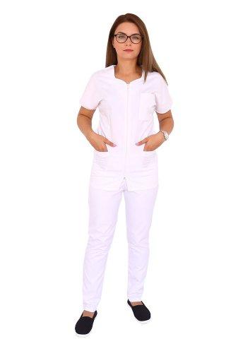 Uniforma curatenie alba cu bluza cu fermoar cambrata si pantaloni alb cu elastic