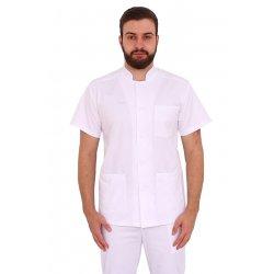 Halat medical alb barbatesc cu guler tip tunica si trei buzunare