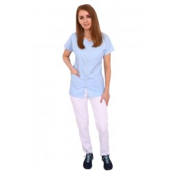 Uniforma de lucru bleo cu alb, bluza cu fermoar , trei buzunare si pantaloni cu elastic.