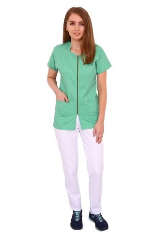 Costum medical vernil cu alb, bluza cu fermoar, trei buzunare si pantaloni cu elastic