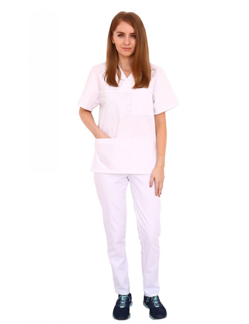 Uniforma curatenie alba cu bluza cu anchior in forma V si pantaloni cu elastic