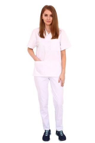Costum medical alb cu bluza cu anchior in forma V si pantaloni alb cu elastic