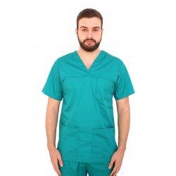 Halat medical verde unisex cu anchior in forma V cu trei buzunare