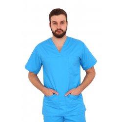 Halat medical turquoise unisex cu anchior in forma V cu trei buzunare aplicate