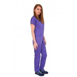 Costum medical mov, bluza cu fermoar cambrata, trei buzunare si pantaloni cu elastic
