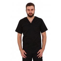 Halat medical negru unisex cu anchior in forma V cu trei buzunare aplicate