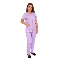 Costum medical lila, bluza cu fermoar cambrata, trei buzunare si pantaloni cu elastic
