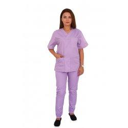 Costum medical lila, bluza cu anchior in V, trei buzunare si pantaloni cu elastic