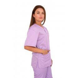 Halat medical lila cu anchior in forma V cu trei buzunare aplicate