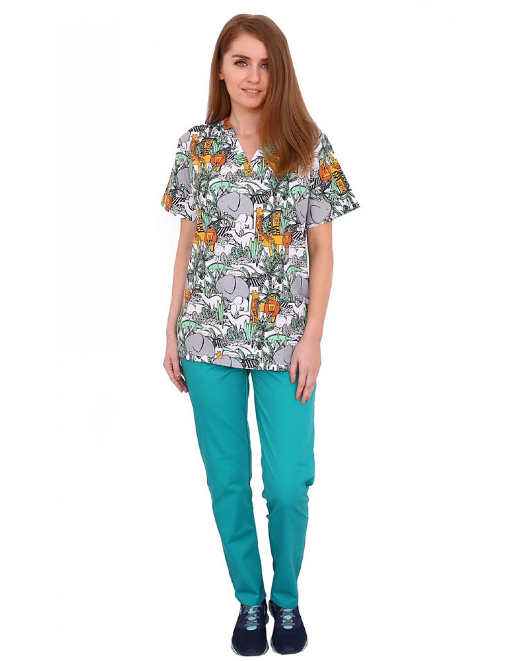 Costum medical Jungle, cu bluza cu imprimeu si pantaloni verzi cu elastic