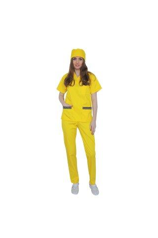 Costum medical galben boneta CADOU cu motive tranditionale, cu bluza cu anchior in V