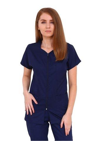 Costum medical bleumarin, bluza cu fermoar cambrata,trei buzunare si pantaloni cu elastic