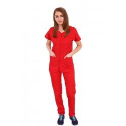 Costum medical rosu, bluza cu fermoar cambrata, trei buzunare si pantaloni cu elastic
