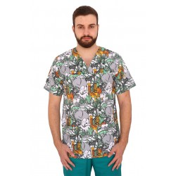 Halat medical imprimat Jungle, unisex, cu anchior in V si trei buzunare