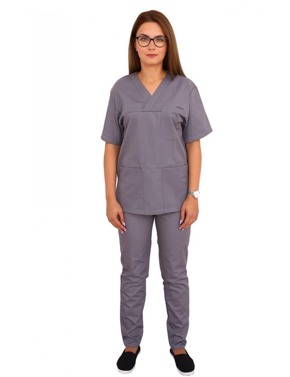 Uniforma de lucru gri, bluza cu anchior in V, trei buzunare si pantaloni cu elastic