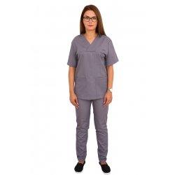 Costum medical gri, bluza cu anchior in V, trei buzunare si pantaloni cu elastic
