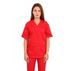 Halat medical rosie cu anchior in forma V si trei buzunare aplicate