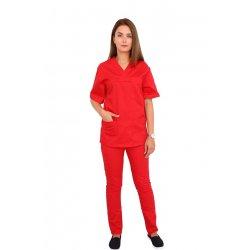 Costum medical rosu, bluza cu anchior in V, trei buzunare si pantaloni cu elastic
