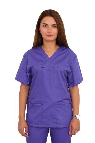 Costum medical mov, bluza cu anchior in V, trei buzunare si pantaloni cu elastic