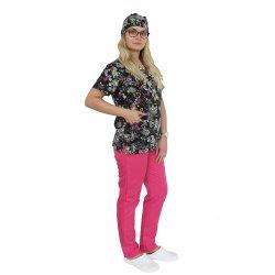 Costum medical Black Butterfly, cu bluza cu imprimeu  si pantaloni cu elastic