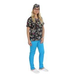 Costum medical Black Butterfly, cu bluza cu imprimeu  si pantaloni turcoaz cu elastic