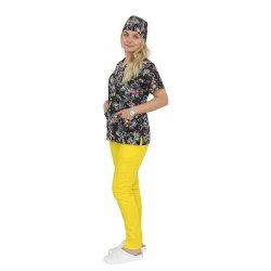 Costum medical Black Butterfly, cu bluza si pantaloni galben cu elastic