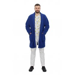 Halat polar barbati albastru cu doua buzunare aplicate si cordon