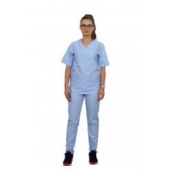 Echipament curatenie bleo cu bluza cu anchior in forma V si pantaloni bleo cu elastic