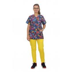 Costum medical Butterfly, cu bluza cu imprimeu  si pantaloni galbeni cu elastic