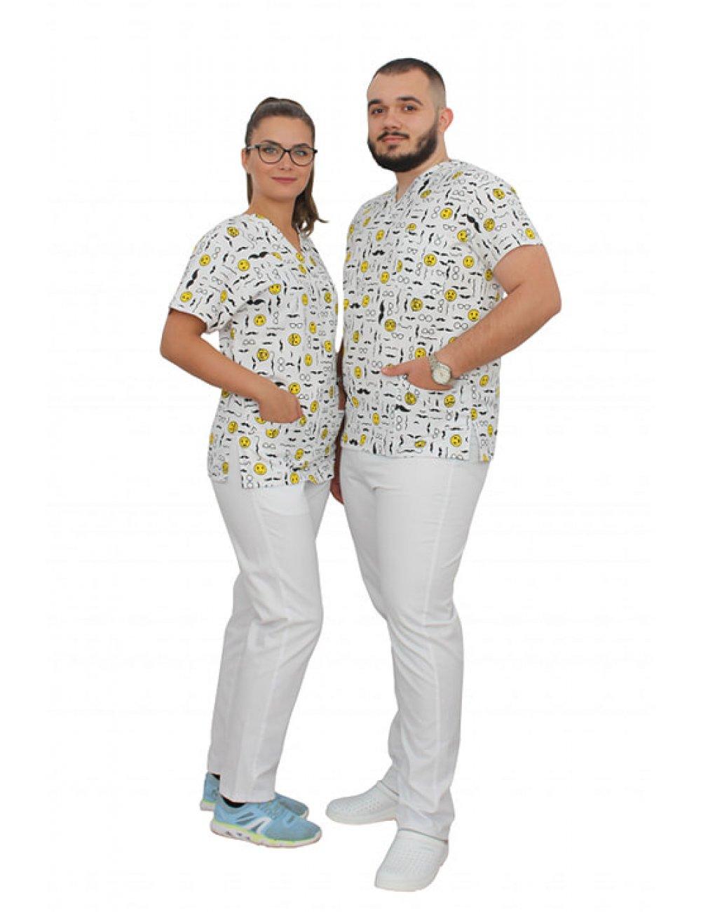 Halat medical imprimat de vara Smile cu trei buzunare aplicate