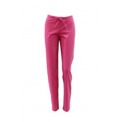 Pantaloni medicali ciclam cu elastic si doua buzunare laterale