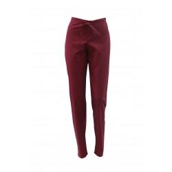 Pantaloni medicali grena cu elastic si doua buzunare laterale