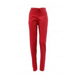 Pantaloni medicali rosii cu elastic si doua buzunare laterale