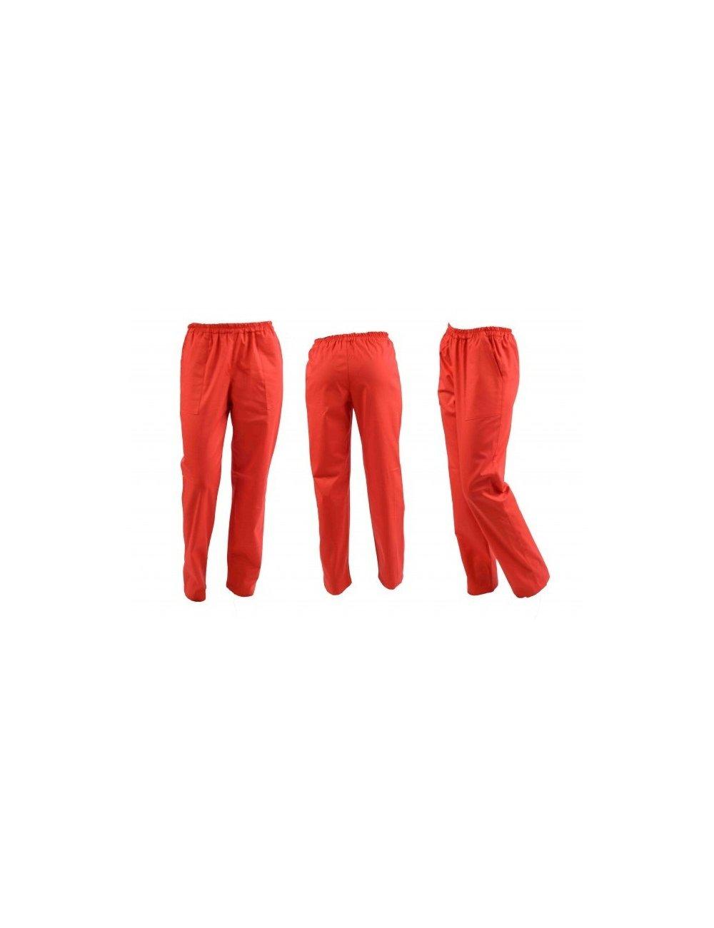 Pantaloni unisex rosii cu elastic si doua buzunare laterale