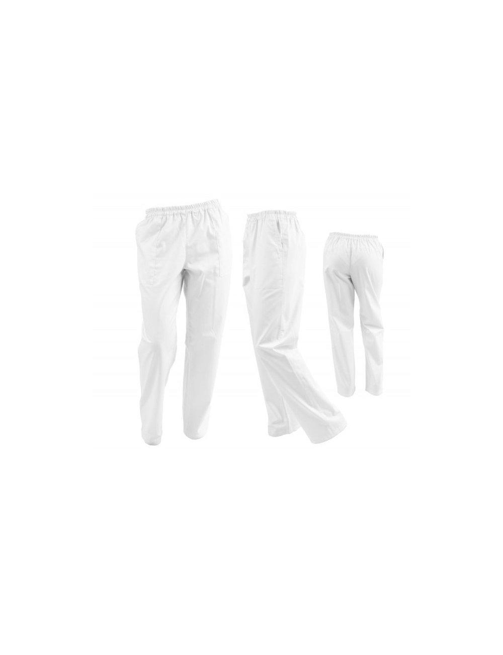 Pantaloni unisex albi cu elastic si doua buzunare laterale