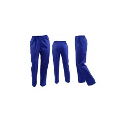 Pantaloni medicali unisex albastri cu elastic si doua buzunare laterale