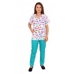 Costum medical Kitty, cu bluza cu imprimeu si pantaloni verzi cu elastic