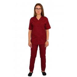 Costum medical grena, bluza cu anchior in V, trei buzunare si pantaloni cu elastic